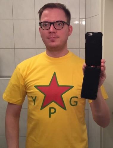 YPG-Fan FDP-Mitglied Tobias Huch (Foto: bijikurdistan.tumblr.com)