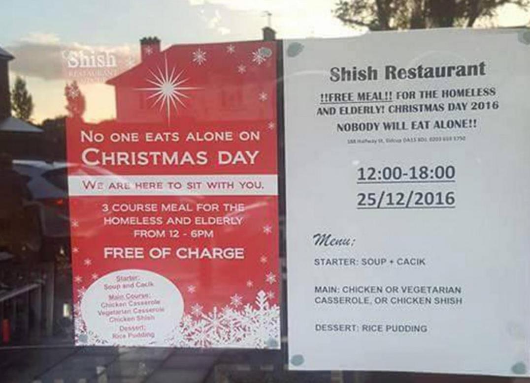 Restaurant Weihnachtsessen.London Türkisches Restaurant Bietet Kostenloses Weihnachtsessen Für